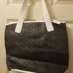Saks Fifth Avenue Perforated Tote NWT Navy
